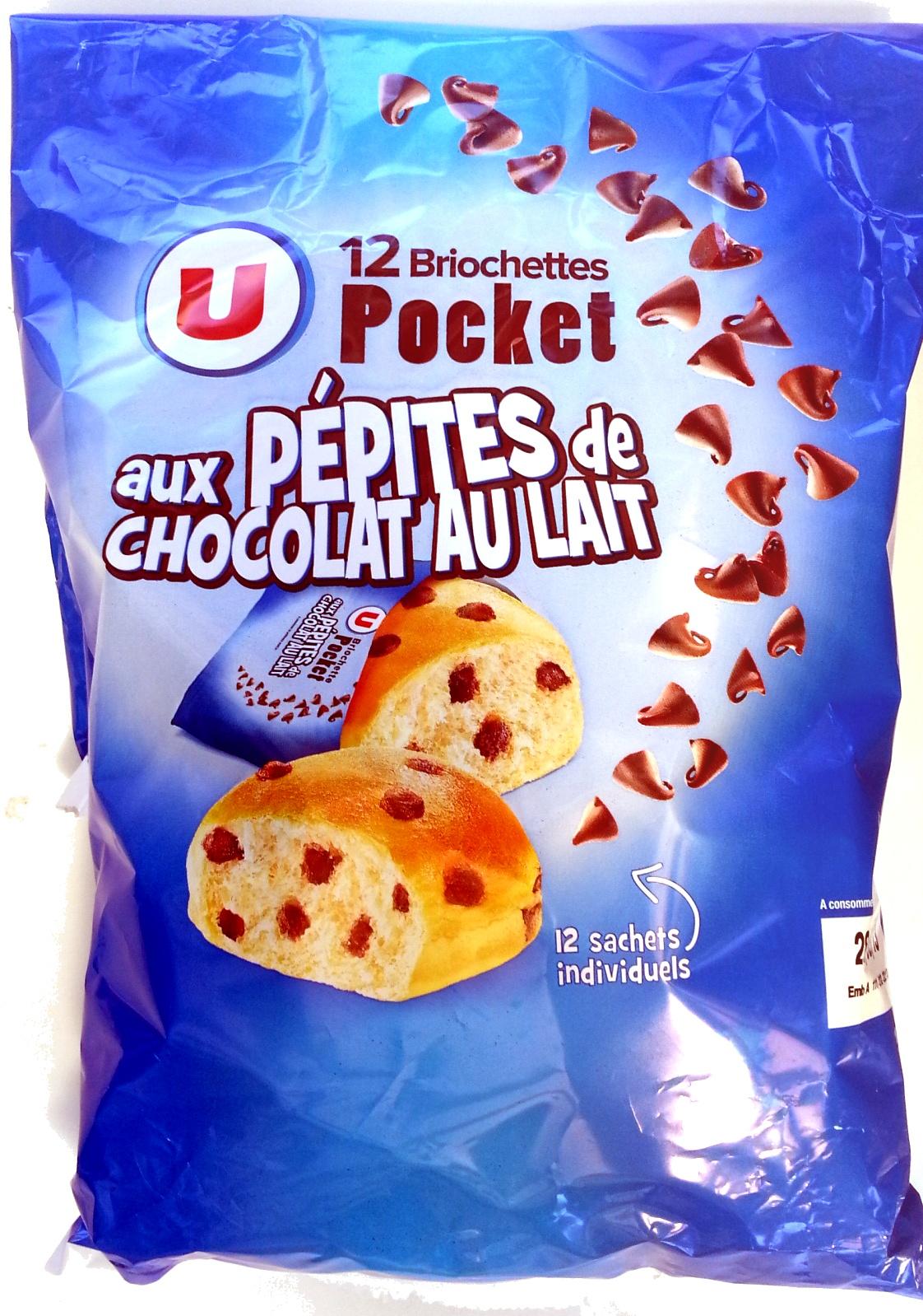 Briochettes Pocket (x 12) aux pépites de chocolat au lait 420 g - U - Produit - fr