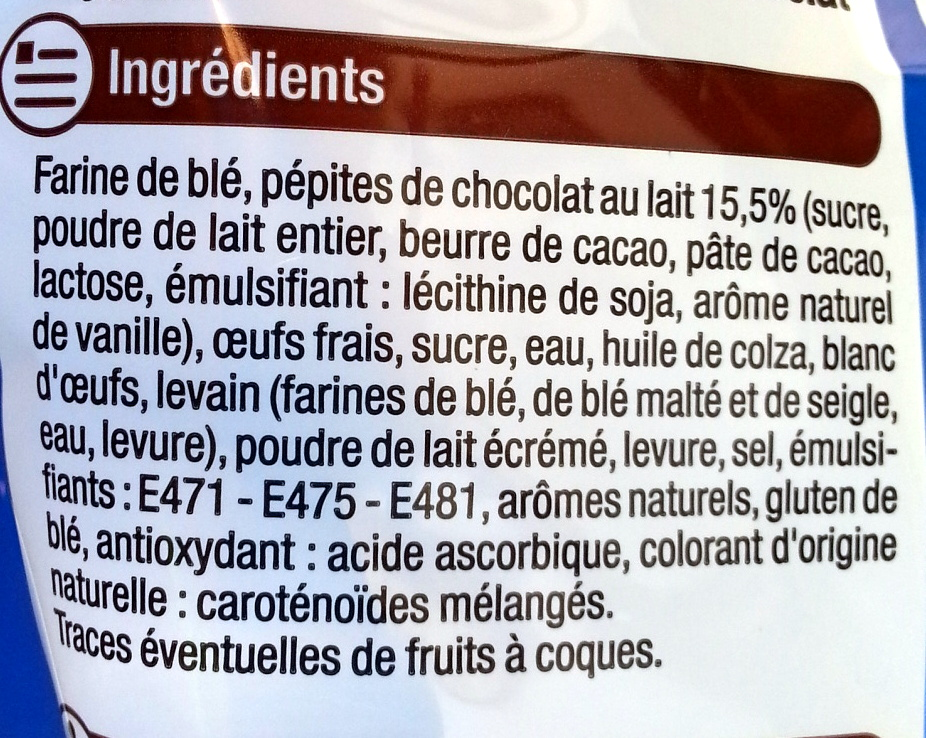 Briochettes Pocket (x 12) aux pépites de chocolat au lait 420 g - U - Ingredients