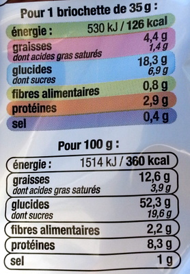 Briochettes Pocket (x 12) aux pépites de chocolat au lait 420 g - U - Nutrition facts