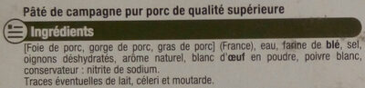 Paté de campagne - Ingrédients - fr