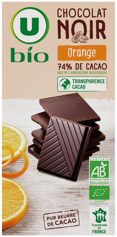 Tablette de chocolat noir orange - Produit - fr