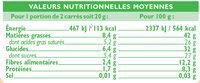 Tablette de chocolat noir orange - Informations nutritionnelles