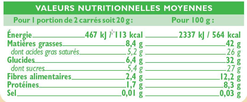 Tablette de chocolat noir orange - Informations nutritionnelles - fr
