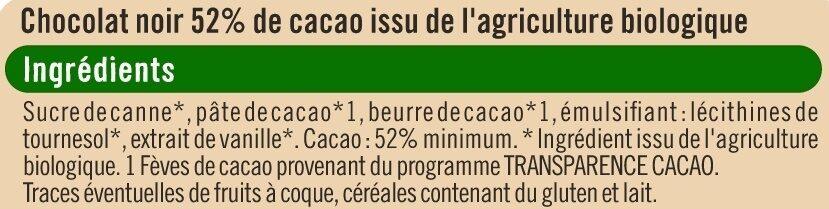 Chocolat patissier - Ingrédients