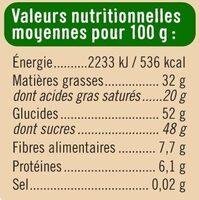Chocolat patissier - Informations nutritionnelles