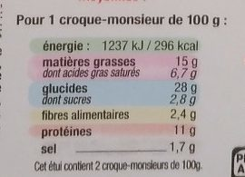 Croque-Monsieur à l'Emmental - Nutrition facts - fr