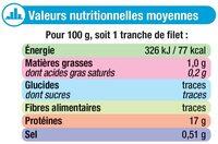 Tranches de filet de colin nature d'Alaska MSC - Voedingswaarden - fr