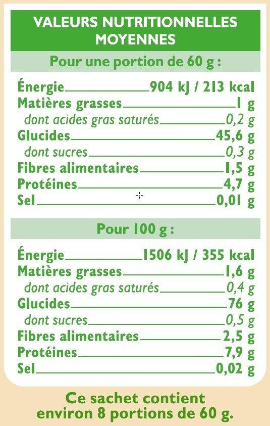 Trio de riz - Informations nutritionnelles