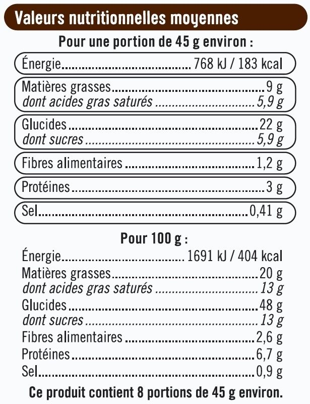 Pains au chocolat pur beurre - Voedingswaarden