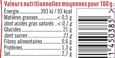 Ketchup nature - Informations nutritionnelles - fr