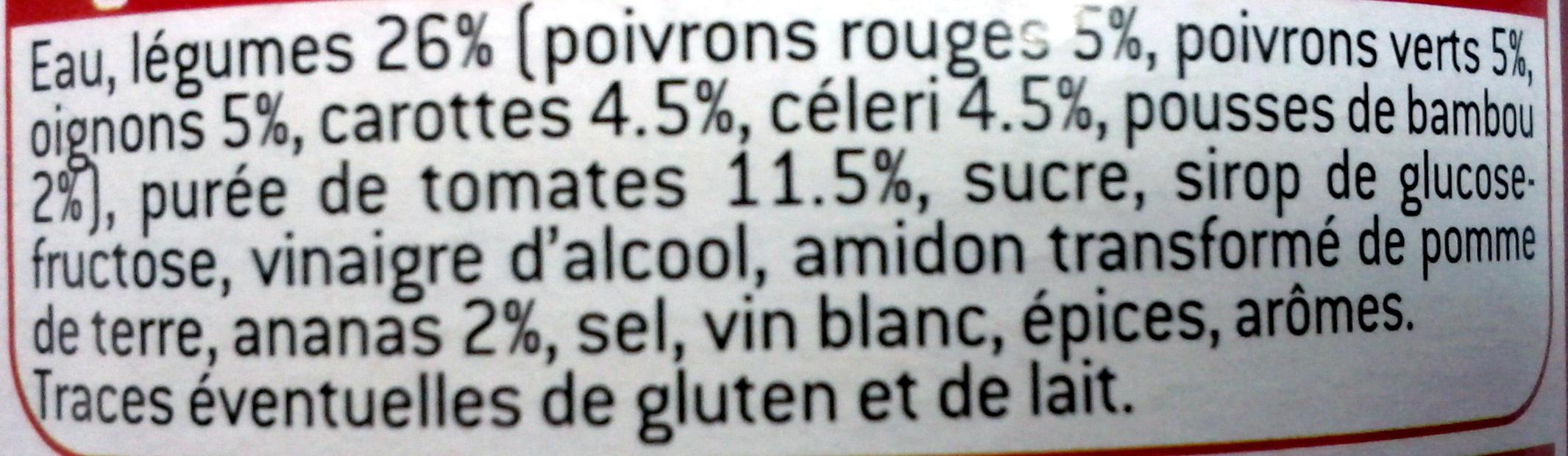 Sauce aigre douce - Ingrédients