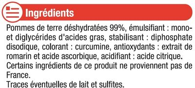 Purée nature - Ingredients