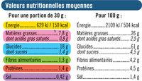 Tuile goût salé - Valori nutrizionali - fr