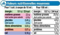 Vinaigrette nature en matières grasses - Informations nutritionnelles - fr
