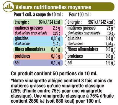 Vinaigrette allégée en matières grasses à l'huile d'olive 13% et au citron - Nutrition facts