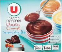 Crèmes dessert saveurs panachées chocolat-saveur vanille-caramel - Produit - fr