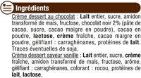 Crème dessert saveurs panachées chocolat-saveur vanille - Ingrédients - fr