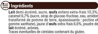 Crème caramel - Ingrédients