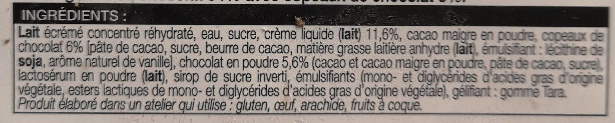 Glace au chocolat - Ingredients