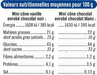 Minis cônes vanille chocolat - Informations nutritionnelles - fr