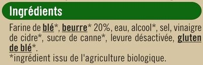 Pâte tarte brisée pur beurre bio - Ingrediënten - fr