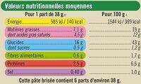 Pâte tarte brisée pur beurre bio - Voedingswaarden - fr
