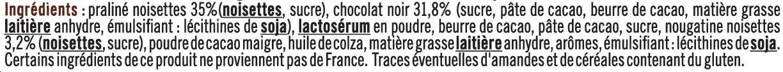 Rochers praliné noir - Ingrédients - fr