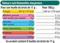 Feuilles de brick - Informations nutritionnelles - fr