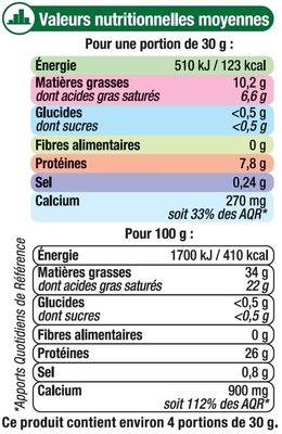 Comté AOP au lait cru râpé 34%MG - Nutrition facts
