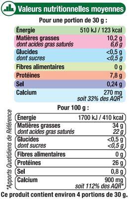Comté AOP au lait cru râpé 34%MG - Voedingswaarden - fr