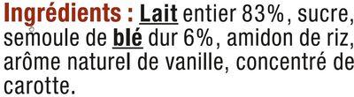 Semoule au lait à la vanille - Ingredients - fr