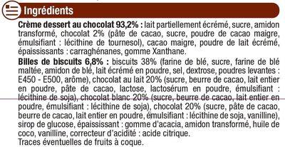 Crème dessert au chocolat et billes au chocolat - Ingredientes