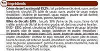 Crème dessert au chocolat et billes au chocolat - Ingrédients
