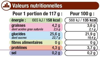Crème dessert au chocolat et billes au chocolat - Información nutricional