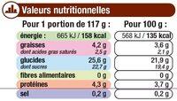 Crème dessert au chocolat et billes au chocolat - Informació nutricional - fr