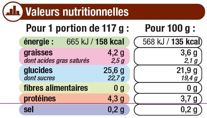 Crème dessert au chocolat et billes au chocolat - Informations nutritionnelles