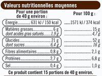 Brioche tressée aux pépites de chocolat au lait - Nutrition facts