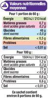 Mélange riz basmati et sauvage - Informations nutritionnelles - fr