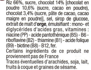 Riz Soufflé Enrobé de Chocolat - Ingredients