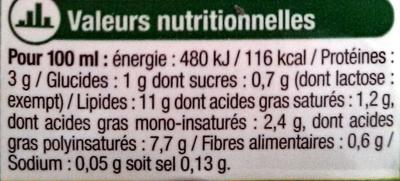 Soja cuisine - Nutrition facts - fr