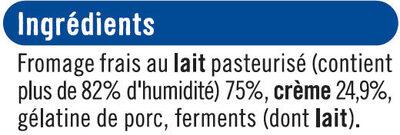 Fromage frais au lait pasteurisé sous crème fouettée 4%MG - Ingrediënten - fr