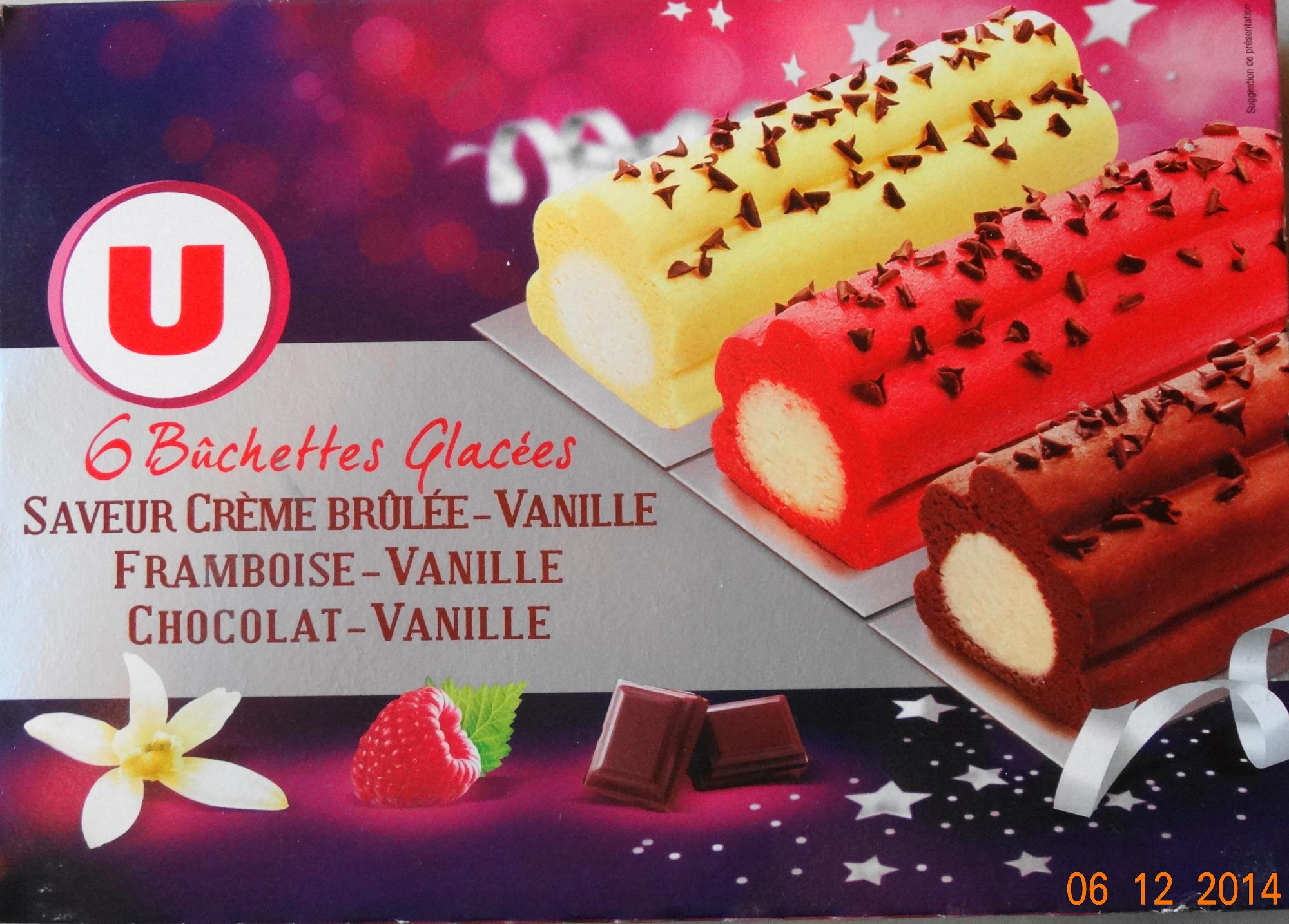 Bûchettes Glacées, saveurs vanille-crème brûlée, framboise, chocolat - Produit