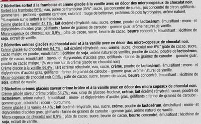 Bûchettes Glacées, saveurs vanille-crème brûlée, framboise, chocolat - Ingredients