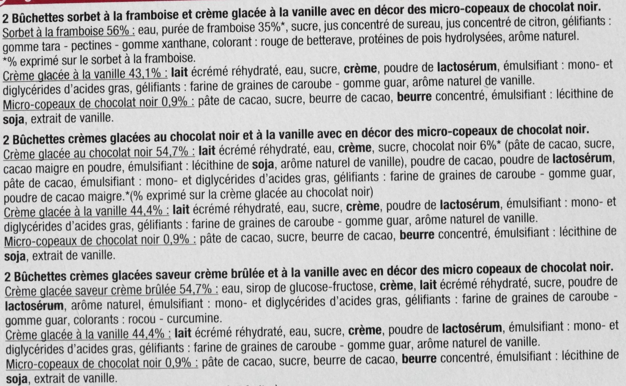 Bûchettes Glacées, saveurs vanille-crème brûlée, framboise, chocolat - Ingrédients