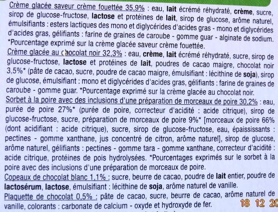 Bûche glacée parfum poire-chocolat facon belle Hélène - Ingredients - fr