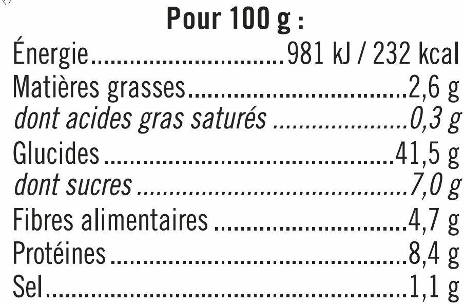 Pain de mie complet sans croute - Informations nutritionnelles - fr