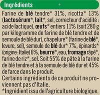 Tortellini ricotta épinard Bio - Ingrédients - fr