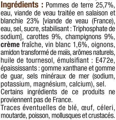 Blanquette de veau - Inhaltsstoffe - fr