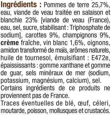 Blanquette de veau - Ingrédients - fr