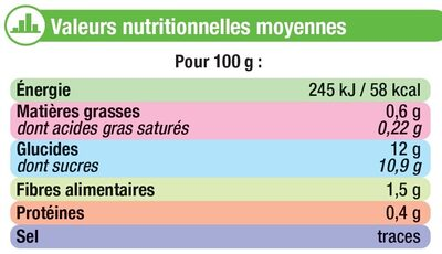 Purée de pommes sans sucres ajoutés - Voedigswaarden